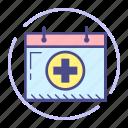 calendar, cross, date, event, healthcare, medical, schedule