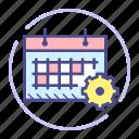 calendar, date, event, gear, options, schedule, settings