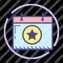 calendar, date, event, favorite, month, schedule, star