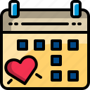 calendar, date, dating, event, heart, valentine icon