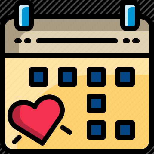 calendar, date, dating, event, heart, valentine icon