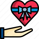 gift, give, heart, love, present, valentine icon