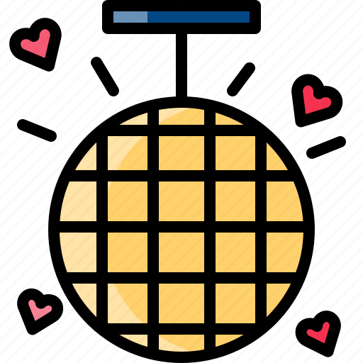 ball, chandelier, disco, light, party, valentine icon