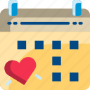 calendar, date, dating, heart, valentine icon
