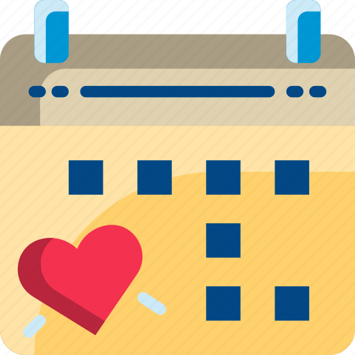 calendar, date, dating, heart, valentine icon
