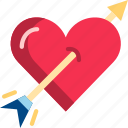 arrow, cupid, heart, love, romantic, valentine icon