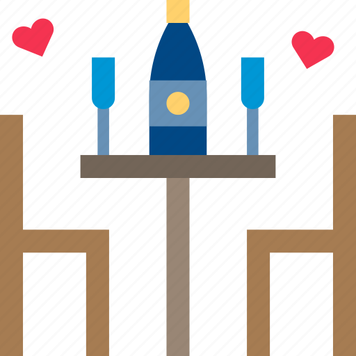 celebrate, date, dinner, drink, party, table, valentine icon