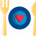 cafe, dating, dinner, heart, restaurant, valentine icon