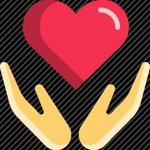 embrace, hand, heart, hug, love, valentine icon