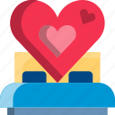 bed, dating, heart, hotel, love, sex, valentine icon