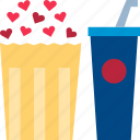 dating, drink, movie, night, popcorn, theater, valentine icon