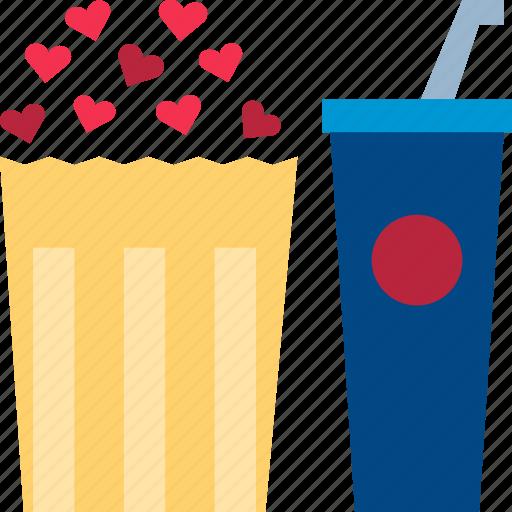 dating, drink, movie, night, popcorn, theater, valentine icon