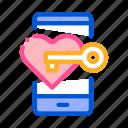 app, dating, heart, key