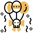 balloon, calaca, dead, skeleton, skull icon
