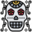 calaca, dead, death, skeleton, skull icon