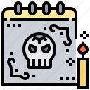 calendar, dead, death, schedule, skeleton icon