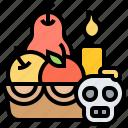 ceremony, fruit, offering, skull, spirituality icon