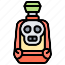alcohol, bottle, danger, skull, tequila icon
