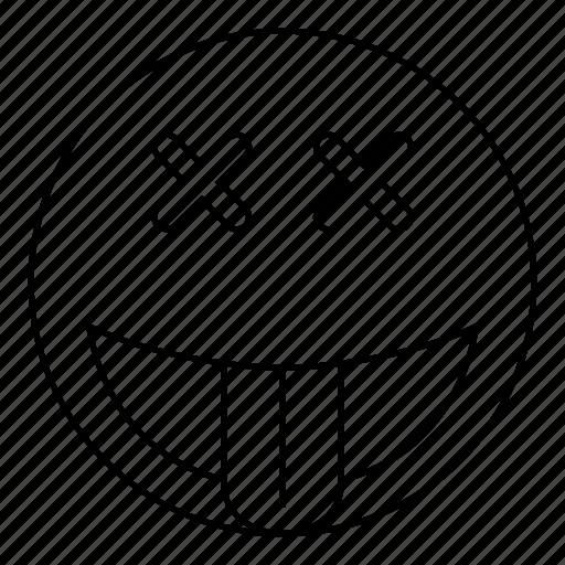 dead, emoji, emoticon, face, happy, smiley icon