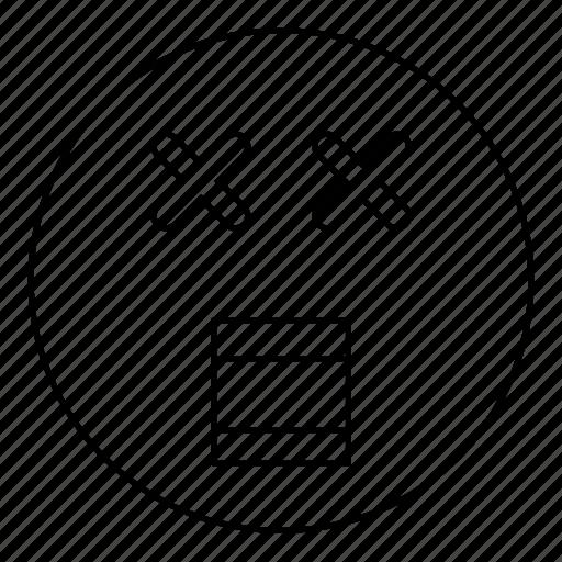 dead, emoji, emoticon, face, smiley, yell icon