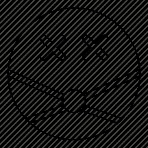 dead, emoji, emoticon, face, gag, kink, smiley icon