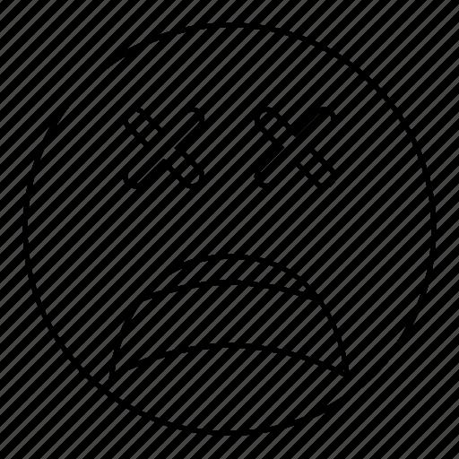dead, emoji, emoticon, face, feeling, sad, smiley icon