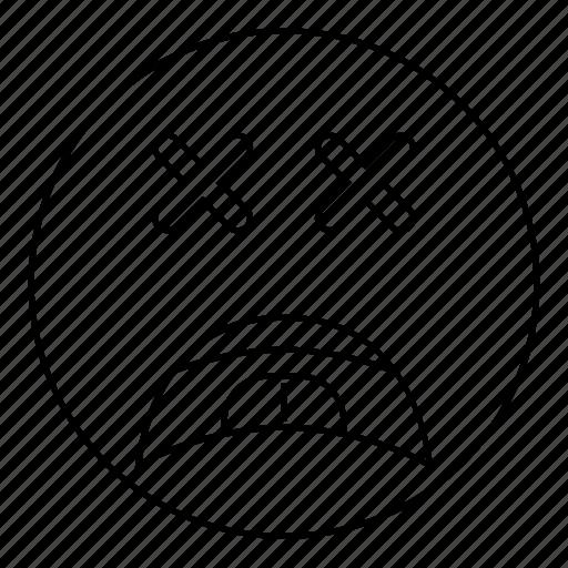 dead, emoji, emoticon, face, sad, smiley icon