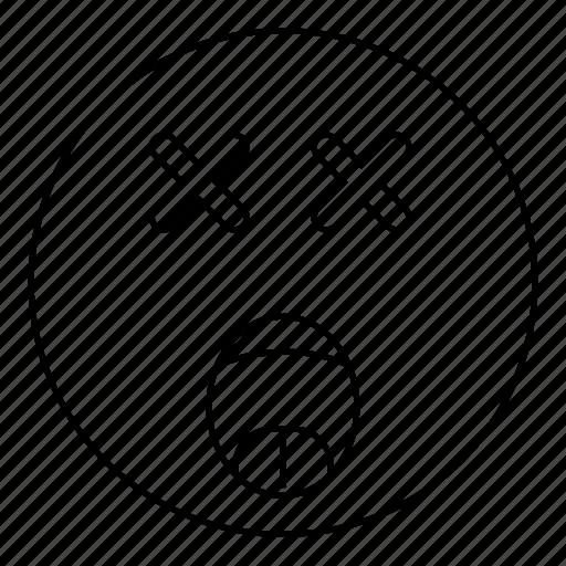 dead, emoji, emoticon, face, scream, smiley icon