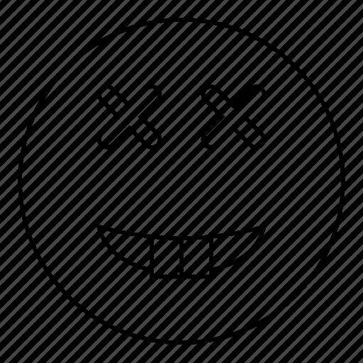 dead, emoji, emoticon, face, happy, smile, smiley icon