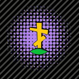cemetery, christian, comics, cross, death, grave, stone icon