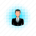 avatar, comics, halftone, male, man, suit, user icon