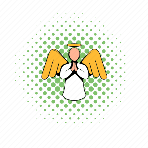 angel, comics, halftone, holiday, holy, living pictogram, wing icon