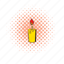 candle, comics, flame, glow, halftone, lit, wax icon