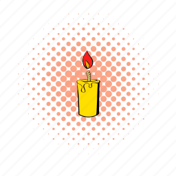 candle, comics, flame, glow, halftone, lit, wax icon