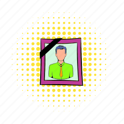 comics, deceased, design, frame, halftone, photo, portrait icon