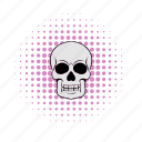 comics, death, halftone, head, pink, rock, skull icon
