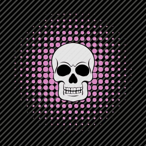 comics, death, halftone, head, pink, rock, skull icon