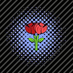 bouquet, comics, design, flower, halftone, purple, two icon