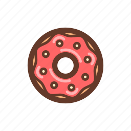 dessert, donut, icing, party, pastry, snack, sprinkles icon