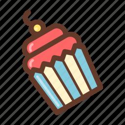 bakery, cream, cupcake, dessert, party, pastry, snack icon