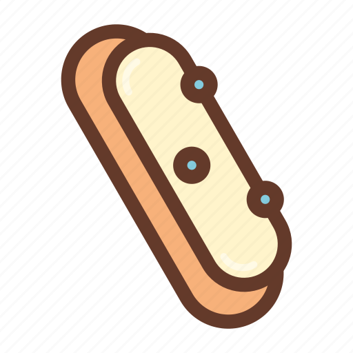 cream, dessert, eclaire, icing, party, pastry, sprinkles icon