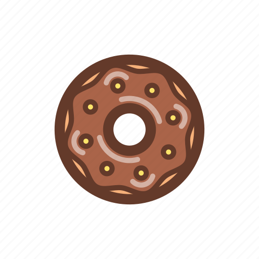 chocolate, dessert, donut, icing, party, snack, sprinkles icon