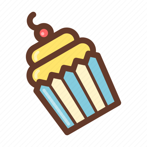 bakery, cream, cupcake, dessert, party, pastry, snack icon