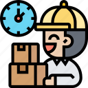 courier, product, distributor, time, deliveryman icon