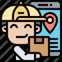 deliverer, smartphone, order, tracking, package