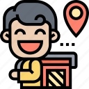 delivery, box, carry, location, postman