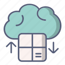 box, cloud, downloading, order, shop icon