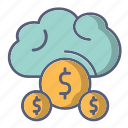 cloud, downloading, loading, money, payment icon