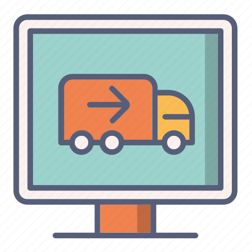 delivery, monitor, online, order, review, shop icon