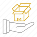 box, delivery, hand, shipping, transportation icon
